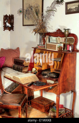 Moss Cottage, Sooke, BC, Sooke Region Museum, Vancouver Island, late 19th century, early 20th century, writing desk - Stock Photo