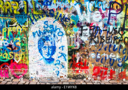 Prague, Czech Republic, John Lennon Wall, street scene, - Stock Photo