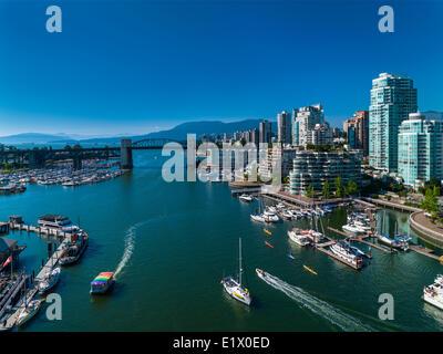 False Creek and Burrard Street Bridge from Granville Street Bridge, Vancouver, British Columbia, Canada - Stock Photo