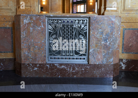 Ceiling Decoration (Murals) in Lord Mayor's Hall in Municipal House by Alfons Mucha (Art Nouveau), Prague Czech - Stock Photo
