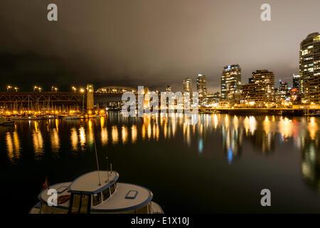 Long exposure of Burrard Bridge from Granville Island. Vancouver B.C. - Stock Photo