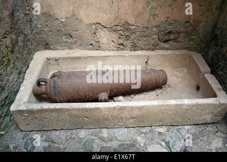Ancient cannon in Certosa of San Lorenzo, Padula, Campania, Italy - Stock Photo