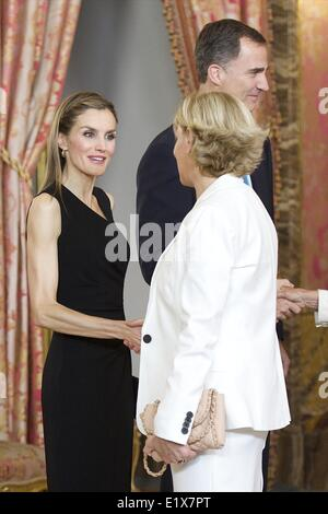 Madrid, Spain. 10th June, 2014. Prince Felipe of Spain and Princess Letizia of Spain attends a meeting with members - Stock Photo
