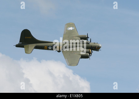 Boeing B-17G flying fortress in flight - Stock Photo