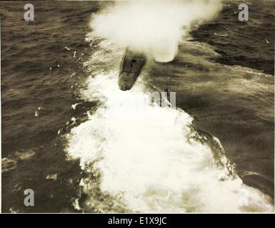 German U-848 Sinking by VPB-107 Aircraft - Stock Photo