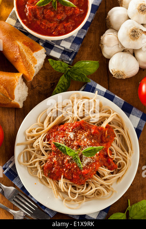Homemade Spaghetti with Marinara Sauce and Basil - Stock Photo
