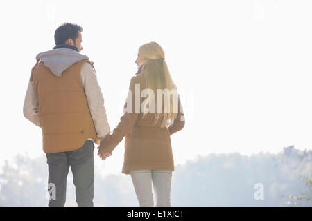 Rear view of couple holding hands while looking at each other in park - Stock Photo