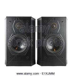 Black hi-fi speakers Stock Photo