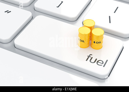 3d render of fuel barrel icon on the keyboard. Gasoline energy concept - Stock Photo