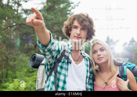 Male hiker showing something to woman in forest - Stock Photo