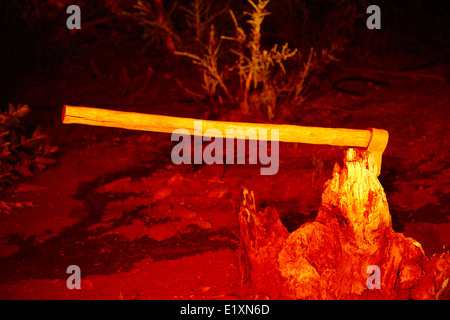 large felling axe buried in a tree stump at night in a eucalyptus forest los pellines chile - Stock Photo