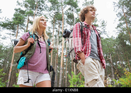 Low angle view of hiking couple looking away in forest - Stock Photo