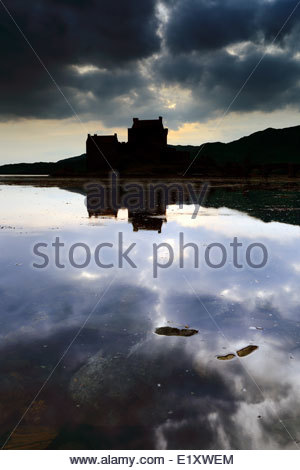 Eilean Donan Castle in Silhouette - Stock Photo