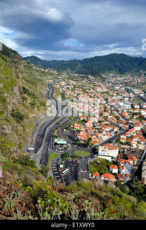 Machico Madeira Portugal. Looking down on the roads and city buildings - Stock Photo