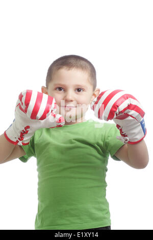Little boxer gloves at face - Stock Photo