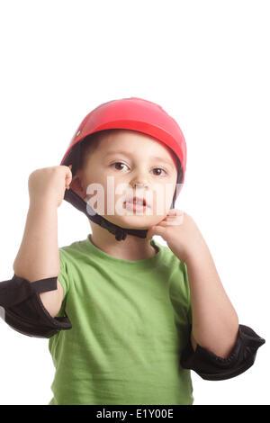 Boy in skateboard armour - Stock Photo