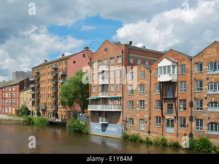 Apartments overlooking the River Aire, Leeds, West Yorkshire, England UK - Stock Photo