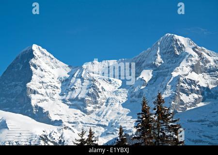 View of the Eiger Mountain, Murren, Bernese Oberland, Switzerland, Europe. - Stock Photo