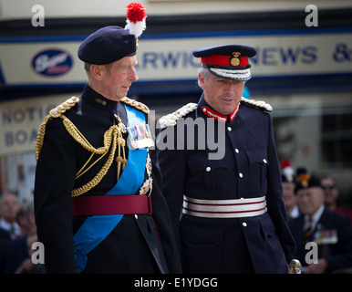 HRH Duke of Kent on a visit to Warwick to honour the Warwickshire Fusilliers - Stock Photo