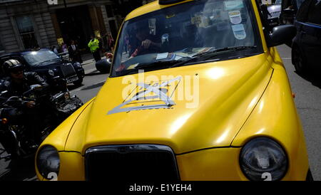 London, UK. 11th June, 2014. Black Cab drivers bring London to a standstill in protest against Transport for London - Stock Photo