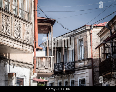 Architecture in the non renovated part of the old town of Tbilisi, Georgia. - Stock Photo