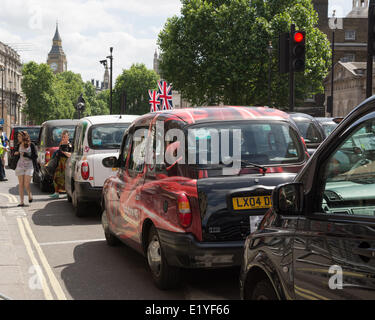 Whitehall, London, UK 11th June, 2014. Central London is brought to a standstill during a picket by thousands of - Stock Photo