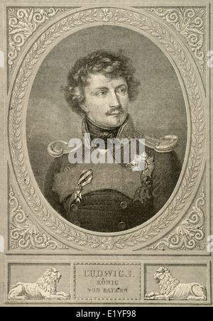 Ludwig I of Bavaria (1786-1868). King of Bavaria form 1825 until the 1848 revolutions in the German states. Engraving. - Stock Photo