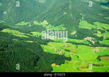 Birds view of a rural landscape in the alps - Stock Photo