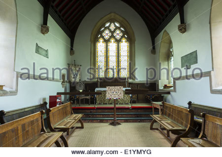 Interior of the small village church of Iken, Near Snape, Devon - Stock Photo