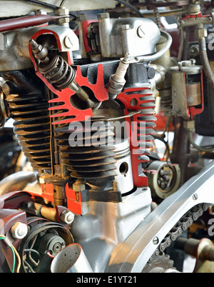 View of internal workings of a four Cycle Vincent Twin Motorcycle engine - Stock Photo