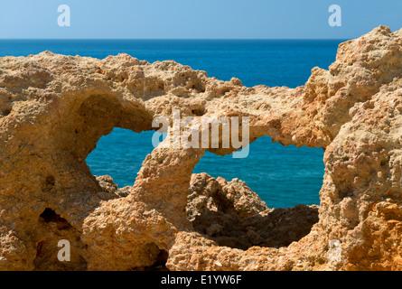 Portugal, Algarve, Carvoeiro, Algar Seco rock formations - Stock Photo
