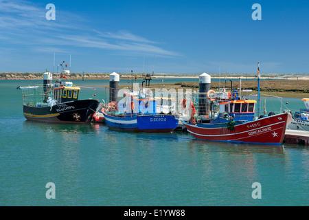 Portugal, the Eastern Algarve, Santa Luzia fishing boats and village, near Tavira - Stock Photo