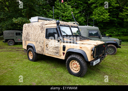 british army snatch landrover in desert colour pattern at military vehicle display bangor northern ireland - Stock Photo