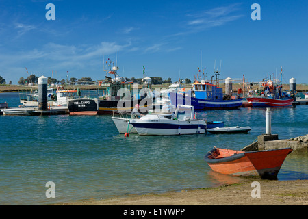 Portugal, the Eastern Algarve, Santa Luzia fishing boats and village, near Tavira - Stock Photo