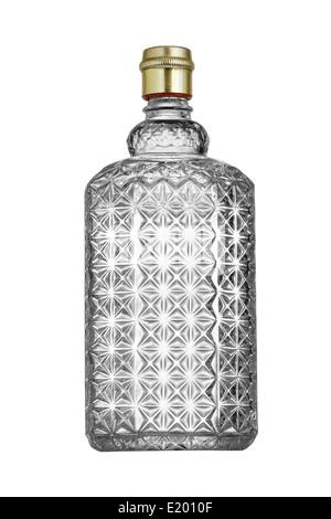 Vintage perfume bottle isolated on white background. - Stock Photo
