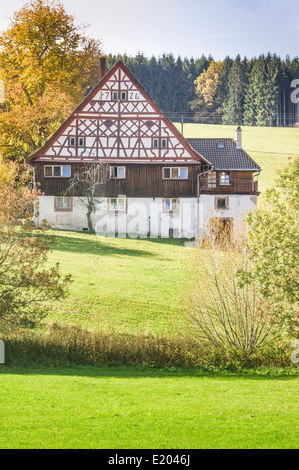 traditional half timbered black forest farm architecture, date on the gable reads 1726, middle black forest near koenigsfeld