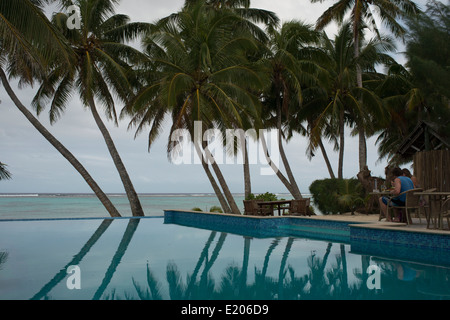 Rarotonga Island. Cook Island. Polynesia. South Pacific Ocean. Pool of luxury hotel Little Polynesian Resort in - Stock Photo