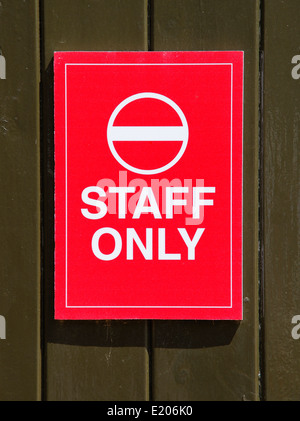 Red staff only no entry sign England UK - Stock Photo