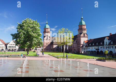 Protestant Town Church and a water garden on the marketplace, Freudenstadt, Black Forest, Baden-Württemberg, Germany - Stock Photo