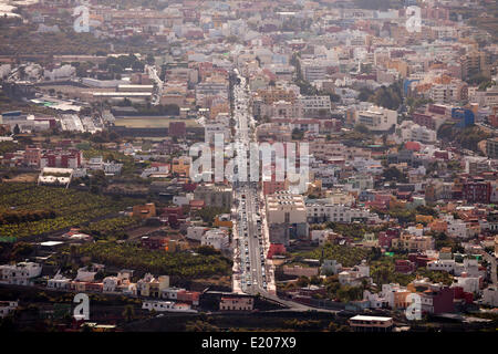 Aerial view, cityscape, Los Llanos, La Palma, Canary Islands, Spain - Stock Photo