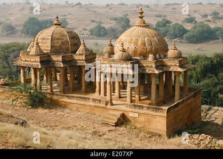Bada Bagh cenotaphs, near Jaisalmer, Rajasthan, India - Stock Photo