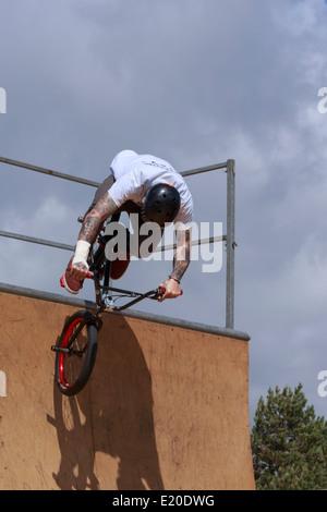 BMX stunt rider - 2014 Bournemouth Wheels Festival - Stock Photo