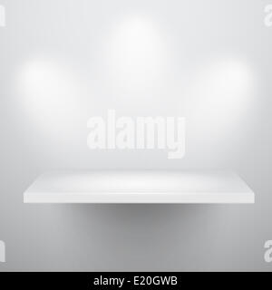 3d isolated Empty shelf for exhibit - Stock Photo