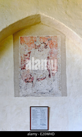 A medieval wall painting in the church of St Clement at Burnham Overy Town, Norfolk, England, United Kingdom. - Stock Photo