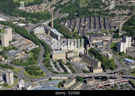 aerial view of Dean Clough Mills in Halifax, West Yorkshire, UK - Stock Photo