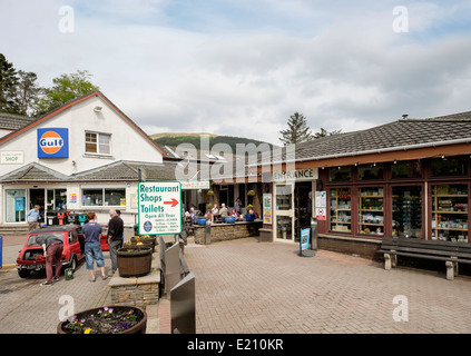 The Green Welly Stop shop, cafe and filling station in tourist village of Tyndrum, Stirlingshire, Scotland, UK, - Stock Photo