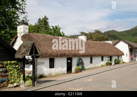 Glencoe and North Lorn Folk Museum in old thatched traditional building in village street in Scottish Highlands. - Stock Photo