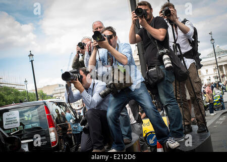 Press photographers at work in Whitehall during the London Taxi strike over the Uber mobile App.  Thousands of London's - Stock Photo