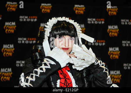Woman attends Comicon dressed as Celestia Ludenberg from Dangan Rompa - Stock Photo