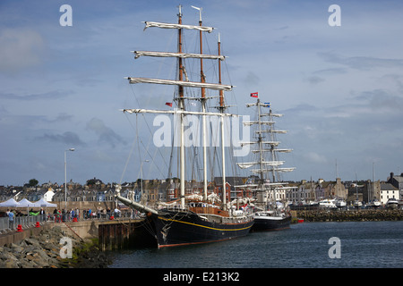 tall ships tied up on the eisenhower pier bangor northern ireland - Stock Photo
